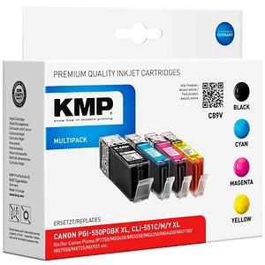 4 KMP C89V schwarz, cyan, magenta, gelb Tintenpatronen ersetzen Canon PGI-550 XL BK, CLI-551 XL C/M/Y