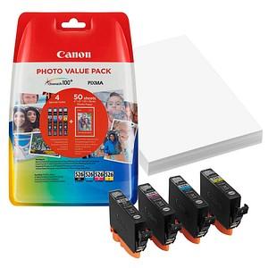 Canon CLI-526 C/M/Y/BK schwarz, cyan, magenta, gelb Tintenpatronen + 50 Blatt Fotopapier, 10 x 15 cm