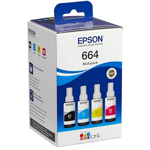4 EPSON T6646 schwarz, cyan, magenta, gelb Tintenflaschen