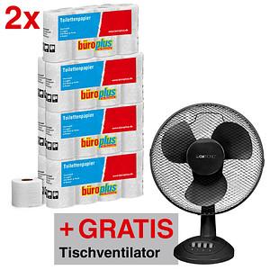 AKTION: büroplus Toilettenpapier 3-lagig 112 Rollen + GRATIS Clatronic Tischventilator