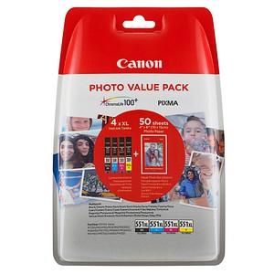 Canon CLI-551 XL C/M/Y/BK schwarz, cyan, magenta, gelb Tintenpatronen + 50 Blatt Fotopapier, 10 x 15 cm