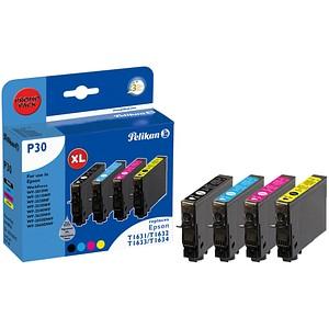 4 Pelikan P30 schwarz, cyan, magenta, gelb Tintenpatronen ersetzen EPSON 16XL / T1636