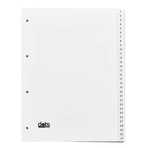 5 dots Ordnerregister   DIN A4 Vollformat 1-31 weiß 31-teilig