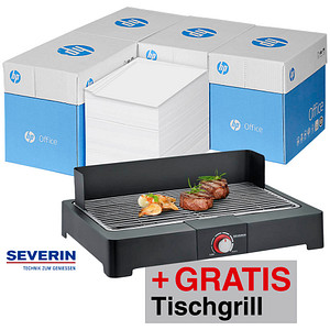 AKTION: HP Kopierpapier Office DIN A4 80 g/qm 5x 2.500 Blatt + GRATIS Severin Tischgrill PG8560