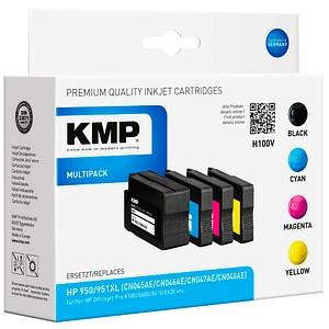 4 KMP H100V schwarz, cyan, magenta, gelb Tintenpatronen ersetzen HP 950XL/951XL (C2P43AE)