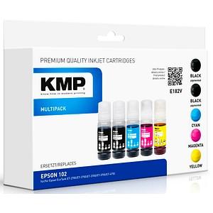 5 KMP E182V 2x schwarz, 1x cyan, 1x magenta, 1x gelb Tintenflaschen ersetzen EPSON 102/T03R14, 102/T03R24, 102/T03R34, 102/T03R44