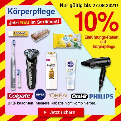 10% Rabatt auf Körperpflege